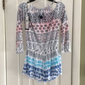 FLOWERS BY ZOE ROMPER W COLD SHOULDERS NWT